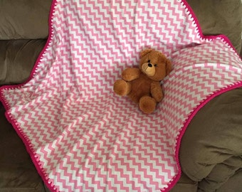 Flannel pink and white chevron stripe blanket nursing cover swaddling blanket kindergarten nap blanket