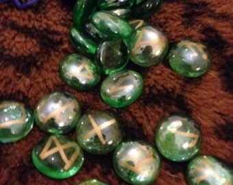 Sea Green Rune Stones, Viking, Witch, Pagan, Fortune Telling