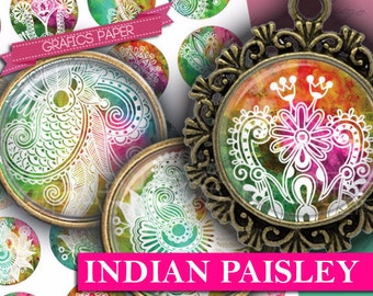 "Instant Download Indian Paisley Images 1.5"", 1.25"", 30mm, 1 inch Bottlecap Images Digital Collage Sheet - printable download - td323"