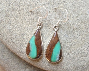 925 Sterling silver earrings/ Boulder Chrysoprase gemstone earrings