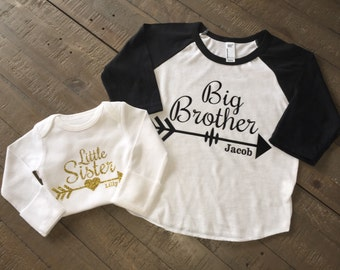 Big Brother Little Sister Shirt Set - 3/4 Sleeve Raglan Shirt and Long Sleeve Body Suit - Arrow Design