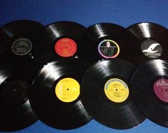 Set of 16 Vintage Crafting Vinyl, 12 Inch, Interesting Label Set #6 /DIY Coasters / Crafting Albums