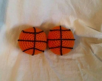 Small, crocheted basketball, photo prop
