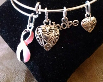 Expandable Handmade Silver Plated Bangle Charm Bracelet Breast Cancer Awareness Support Pink Ribbon