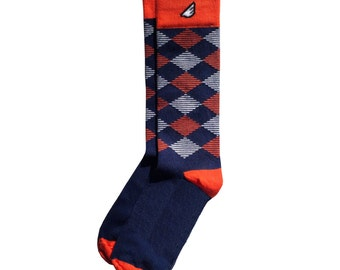 "Argyle Socks | Christmas Holiday Gift Stocking Stuffer | Groom Socks | Navy, Orange & White - Fun Crazy Unique Colorful - ""Scotsman"""
