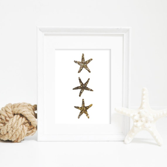 Gold Starfish Wall Decor : Gold starfish print wall decor by printsbyjettyhome