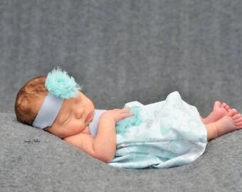 Mommy Miss Lily Dress Photo Prop Aqua/Gray Butterflies/Flowers
