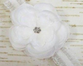 White Jeweled Rose Flower Newborn Headband Photo Prop