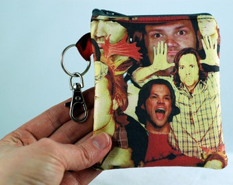 Sam Winchester coin purse, Supernatural funny, Many faces of Sam, Gift for SPN fans, Moose coin purse, Funny Sam Faces perfect gift