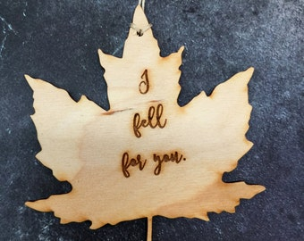 Maple Leaf Ornament, Fall Ornament, Wooden Maple Leaf