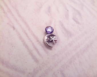 Tiny Moon Bindi for Belly Dance Costume, Purple and Silver, Reusable