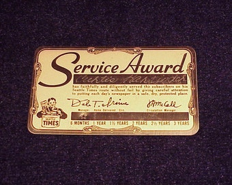 Seattle Times Newspaper Boy Service Award Metal Card, for 6 months service