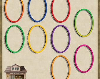 9 Brightly Coloured Oval PNG Frames *Instant Download*