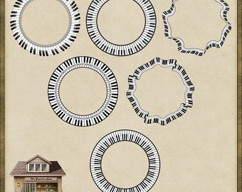 6 Piano Key Circle Frames PNG *Instant Download*