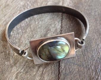 Silver cuff bracelet with labradorite