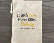 10 Bachelorette Hangover Kit, Survival Kit, Recovery Kit, Emergency Kit Favor Bags, Bachelorette Party Favor - A Little Party, Custom