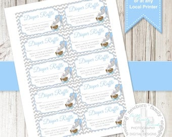 Sweet Dumbo Boy Diaper Raffle Tickets & Games **DIGITAL FILE** Print Anywhere!