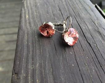 Swarovski crystal 12 mm cushion cut drop down earring Peach crystal