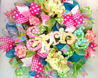 Spring Mesh Wreath, Hydrangea Spring Mesh Wreath, Mothers Day Gift, Spring Door Wreath, Front Door Spring Wreath, Spring Decoration