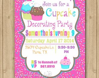 Cupcake Decorating Birthday Invitation, Cupcake Invitation, Cupcake Party, Cupcake Chalkboard Invitation, Cupcake Birthday Invitatio