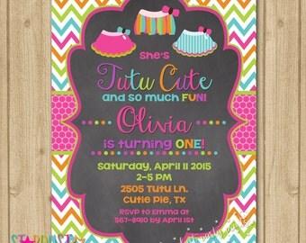 Tutu Birthday Chalkboard Invitation, Tutu Invitation, First Birthday Invitation, Tutu Birthday Invitation, Tutu Cute Invitation