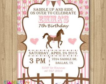 Horse Birthday Invitation, Horse Invitation, Cowgirl Invitation