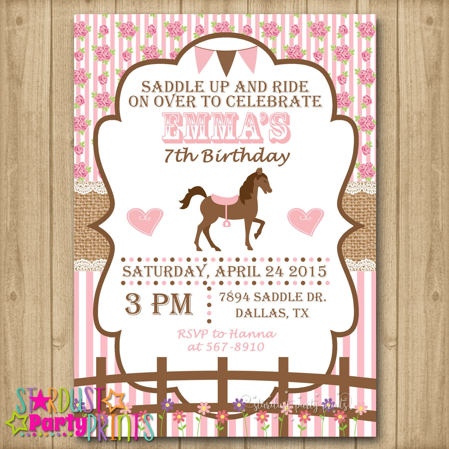 Horse Birthday Invitation Horse Invitation Cowgirl