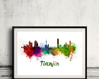 Tianjin skyline in watercolor over white background with name of city - Poster Wall art Illustration Print - SKU 1524