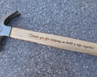 Your Handwriting Laser Engraved, Personalized Hammer, Father's Day Gift, Father of the Bride, Custom Hammer, Gift to Dad, Wedding gift