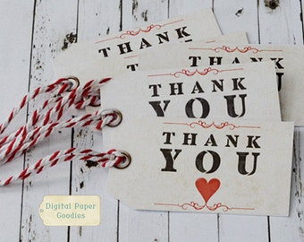 Thank You tags PRINTABLE, Wedding thank you favor tags, gift tags, INSTANT DOWNLOAD