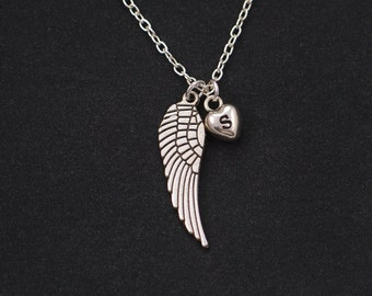 initial necklace, wing necklace, silver angel wing charm, guardian angel, little girl gift, memorial gift, family death, bridesmaid gift