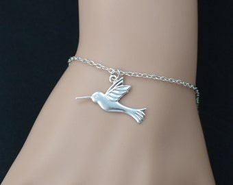 hummingbird bracelet, sterling silver filled, silver hummingbird charm jewelry, bird jewelry, hummingbird pendant, adjustable bracelet, bird