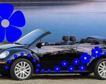 32,blue & silver pansy flowers car decals,stickers in three sizes
