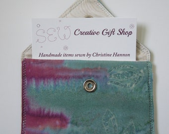 Business Card Holder / Gift Card Holder / Credit Card Holder / Mini Wallet / Card Organizer - Teal Fabric with Purple Accents