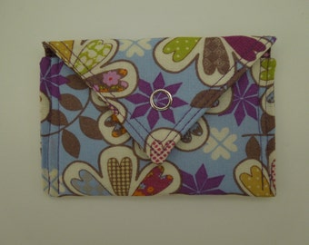 Business Card Holder / Gift Card Holder / Credit Card Holder / Mini Wallet / Card Organizer - Floral Print on Periwinkle Purple Fabric
