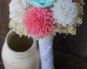 wedding bouquet, sola flower bouquet, bridal bouquet, rustic wedding, coral, bridesmaid bouquet, bride bouquet, coral and blue mint, bouquet