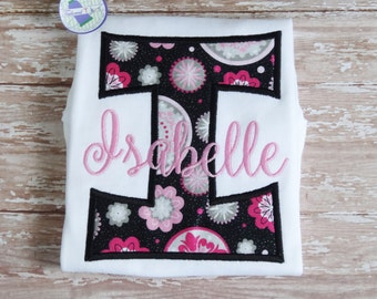 Personalized Letter Applique Name Shirt - Girls Monogram Shirt - Girls Applique Shirt - Girls Letter Applique Shirt - Girls Birthday Shirt