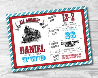 Train Invitation Printable - Vintage Train Birthday Party - Train Party - Printable Train Invite