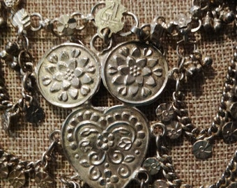 Antique Old Rajasthan Silver Necklace Stamped GL 100 Indian From India Necklace.