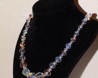 """Vintage Aurora Borealis Crystal 18"""" Necklace."""