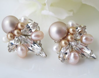 Blush Art Deco post earring, Swarovski crystal and pearl bridal earring