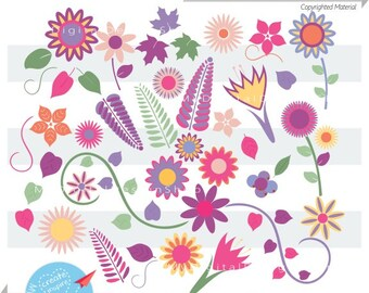 Spring Blooms Clipart, Vector EPS, PNG, JPG, Lavender Flowers Scrapbook, Pink Flowers, Blossoms, Spring Gardening ClipArt, Mother's Day C066