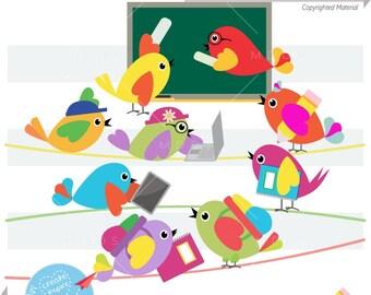 Back To School Birdies Clipart, Vector EPS, PNG Image, Talking Birds, Teachers Students, Teaching Classroom,  Scrapbook Baby Birds |C062