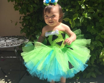 Pebbles costume~Halloween costume~tutu dress~ bow with bone~ costume with bone