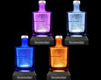 Godet Icy Cognac Multicolour LED Bottle Lamp. Cognac Lamp, Cognac Gifts , Bar Lighting, Mood Lighting, LED Lighting. DiamondLiquorLights