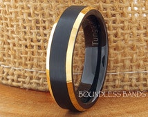 Tungsten Wedding Ring Black Yellow Gold Plated Beveled Edges 7mm Tungsten Ring Anniversary Ring Promise Ring Comfort Fit Men's Tungsten Ring
