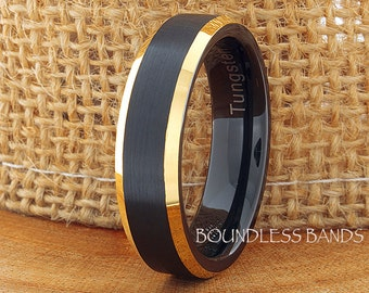 Tungsten Wedding Ring Black Yellow Gold Plated Beveled Edges 6mm Tungsten Ring Anniversary Ring Promise Ring Comfort Fit Men's Tungsten Ring