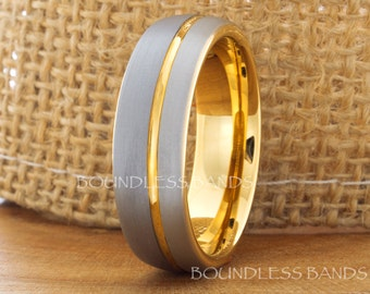 Tungsten Wedding Ring Yellow Gold 18K Grooved Tungsten Wedding Band Anniversary Ring Promise Ring Comfort Fit Men's His Hers Two Tone 7mm