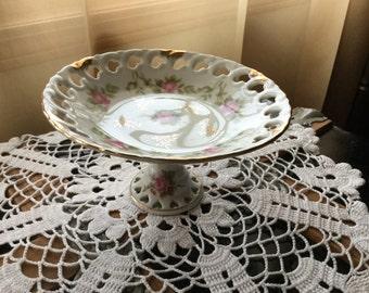 Vintage Lefton China Pedestal Dish / Victorian Rose Pattern with Gold Trim