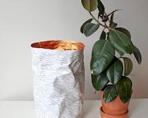 Paper bag, extra large storage bag, laundry basket, hamper, washable paper, birch design, Nordic, Scandinavian, Rustic style